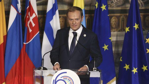 Przewodniczący Rady Europejskiej Donald Tusk podczas uroczystości z okazji 60. rocznicy podpisania Traktatów Rzymskich - Sputnik Polska