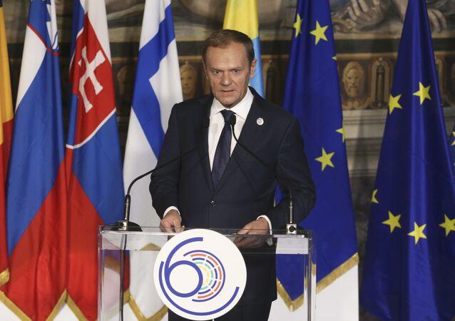 Przewodniczący Rady Europejskiej Donald Tusk podczas uroczystości z okazji 60. rocznicy podpisania Traktatów Rzymskich