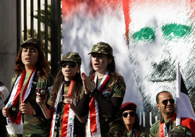Mural z portretem syryjskiego prezydenta Baszara al-Asada w Damaszku