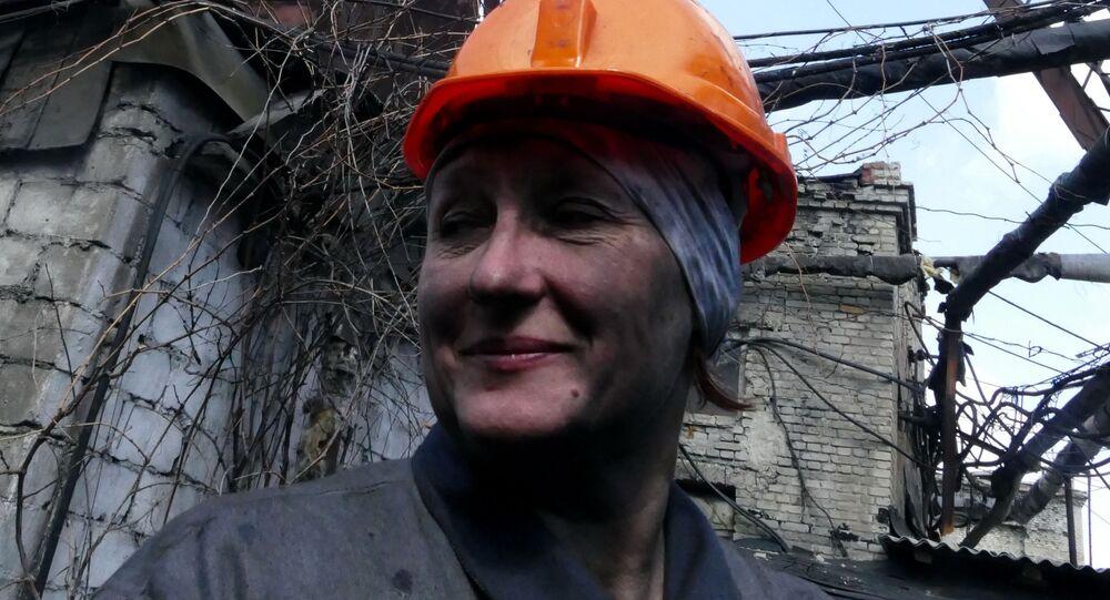 Górniczka w kopalni węgla w obwodzie donieckim