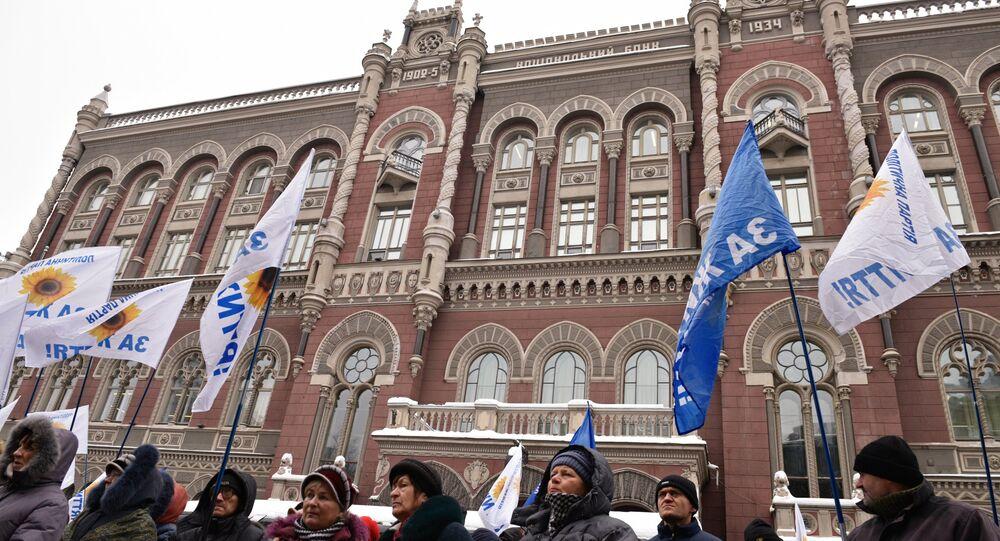 Protesty przed Narodowym Bankiem Ukrainy