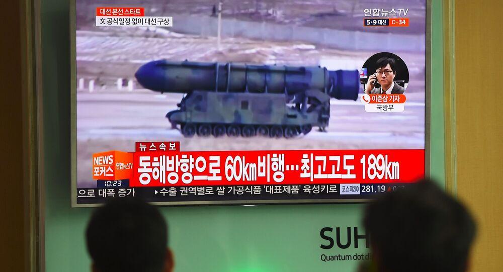 Reportaż w południowokoreańskiej telewizji o próbie rakietowej Korei Północnej