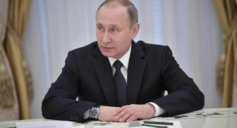 Prezydent Rosji Władimir Putin na spotkaniu z kierownictwem organów bezpieczeństwa krajów WNP