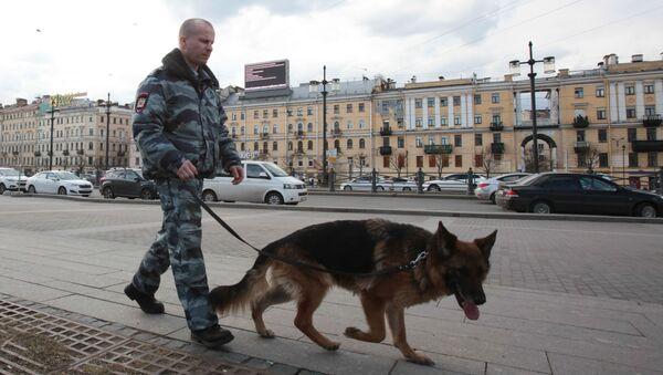 Pracownik służb porządkowych z psem na ulicy w Petersburgu - Sputnik Polska