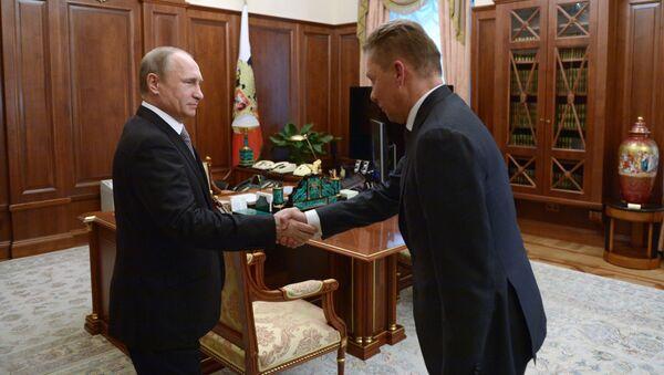 Prezydent Rosji Władimir Putin i przewodniczący zarządu Gazpromu Aleksiej Miller podczas spotkania na Kremlu - Sputnik Polska