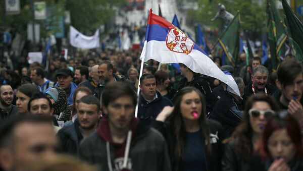 Массовые протесты в Белграде против премьера и избранного президента Александра Вучича - Sputnik Polska