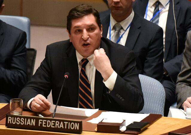 Zastępca stałego przedstawiciela Rosji przy ONZ Władimir Safronkow na posiedzeniu Rady Bezpieczeństwa ONZ