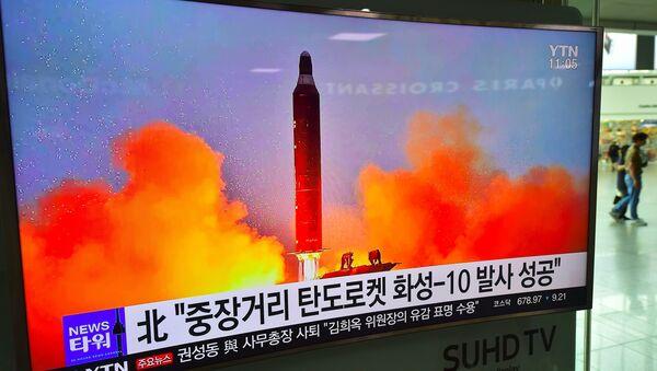 Korea Północna dokonała w niedzielę rano czasu lokalnego nieudanej próby wystrzelenia pocisku balistycznego - Sputnik Polska