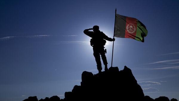 Żołnierz z flagą Afganistanu - Sputnik Polska