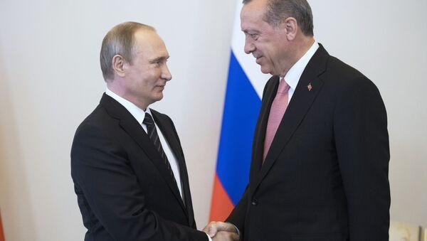 Spotkanie prezydentów Rosji i Turcji Władimira Putina i Recepa Tayyipa Erdogana w Sankt Petersburgu - Sputnik Polska