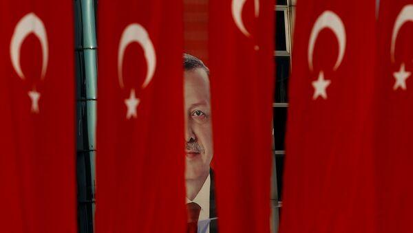 Plakat z wizerunkiem prezydenta Turcji Tayyipa Erdogana - Sputnik Polska
