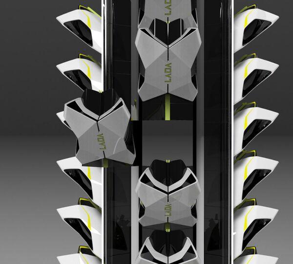 Изображение проекта новой парковочной систему будущего Lada Tower, созданного в рамках конкурса Lada 2050 — видение мобильности будущего - Sputnik Polska