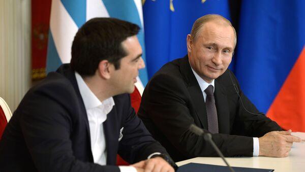 Premier Grecji Aleksis Tsipras i prezydent Rosji Władimir Putin - Sputnik Polska