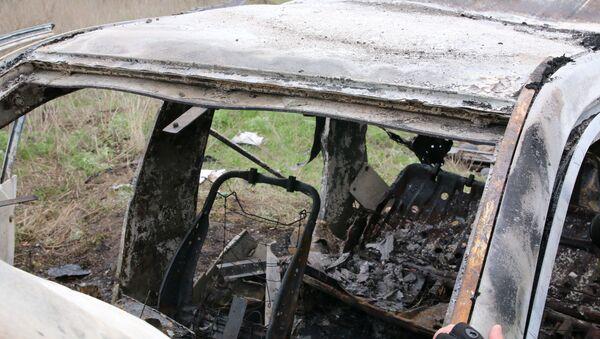 Miejsce, w którym wybuchła mina pod samochodem patrolu Specjalnej Misji Monitoringowej OBWE - Sputnik Polska