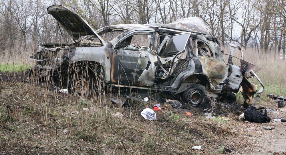 Eksplozja samochodu OBWE w Donbasie