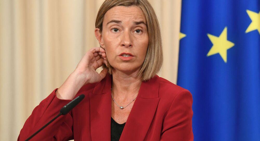Szefowa unijnej dyplomacji Federica Mogherini w czasie konferencji prasowej