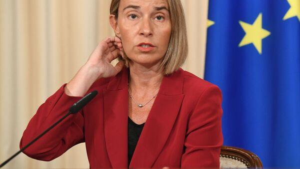 Szefowa unijnej dyplomacji Federica Mogherini w czasie konferencji prasowej - Sputnik Polska