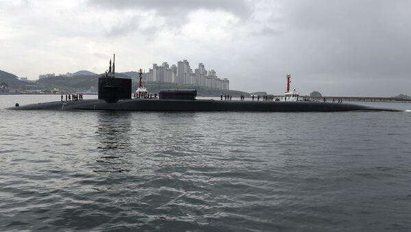 """Atomowy okręt podwodny """"Michigan"""" typu """"Ohio"""" w południowokoreańskim porcie Pusan - Sputnik Polska"""