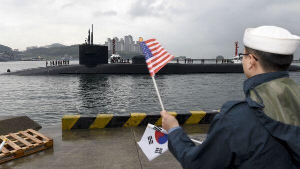 Okręt podwodny USS Michigan w porcie w Busanie, Korea Południowa - Sputnik Polska