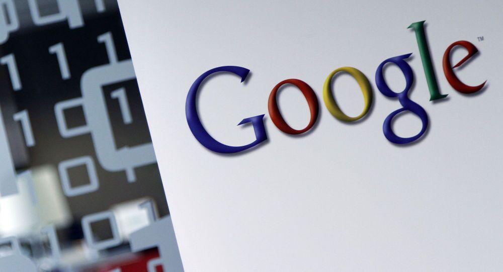 Logotyp Google w siedzibie w Brukseli