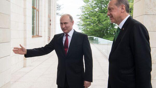 Prezydent Rosji Władimir Putin i prezydent Turcji Recep Tayyip Erdogan podczas spotkania - Sputnik Polska