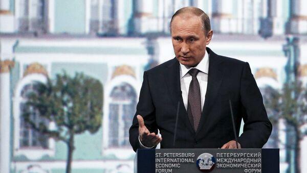 Prezydent Rosji Władimir Putin na sesji plenarnej XIX Petersburskiego Forum Ekonomicznego - Sputnik Polska