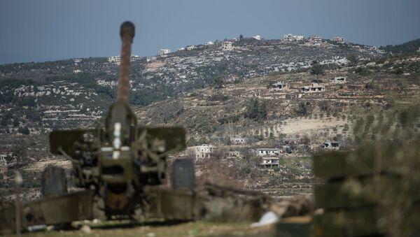 Artylerzyści syryjskiej armii na stanowiskach w prowincji Idlib - Sputnik Polska