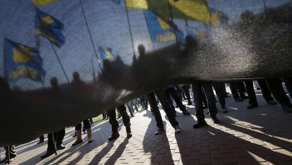 Zwolennicy nacjonalistycznej partii Swoboda na proteście w Kijowie - Sputnik Polska