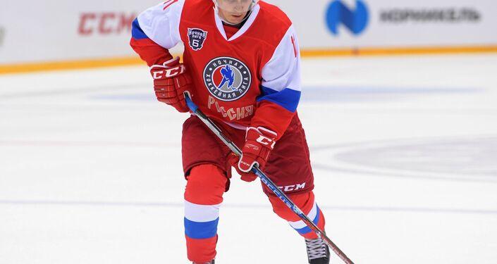 President Vladimir Putin participates in gala match of 6th Night Hockey League Festival