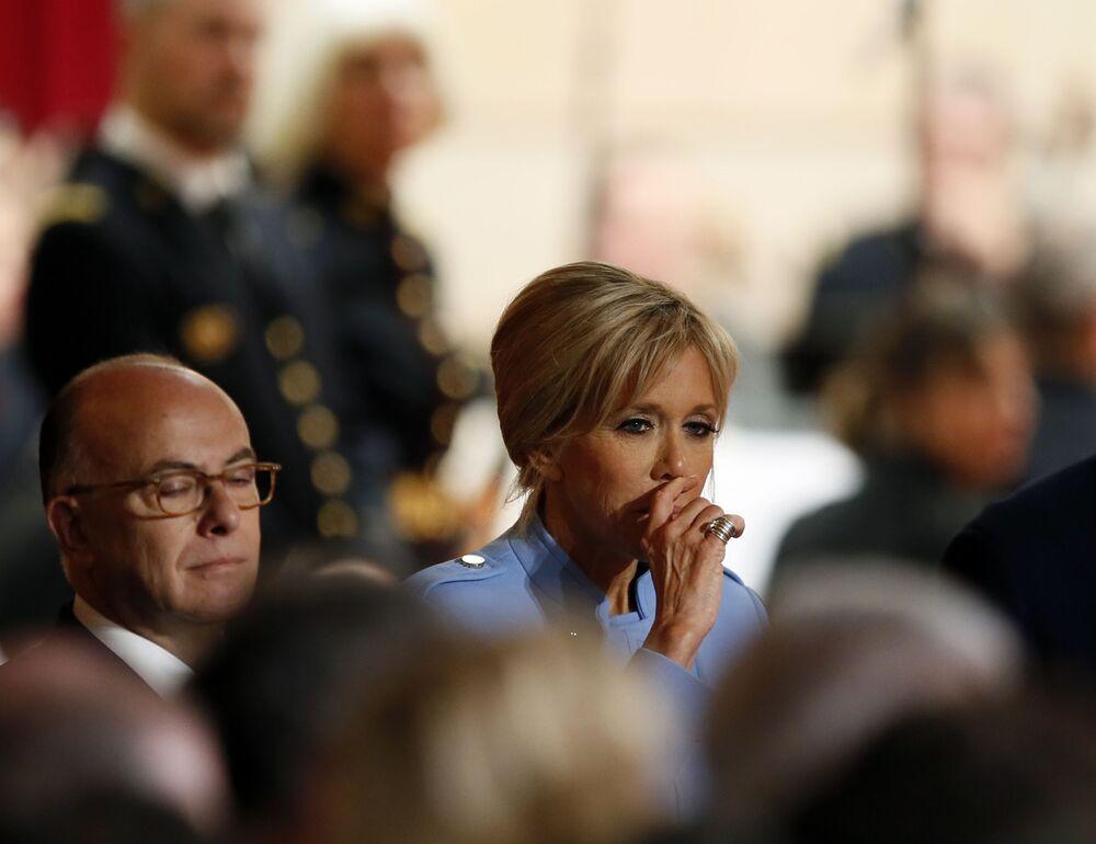 Małżonka prezydenta elekta Francji Emmanuela Macrona podczas ceremonii zaprzysiężenia.