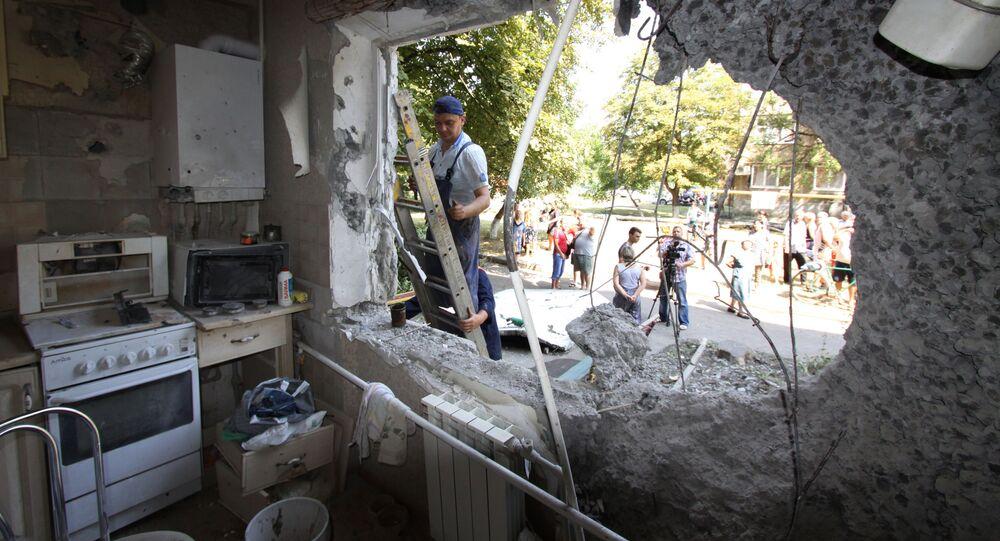 Zniszczone mieszkanie w Donbasie