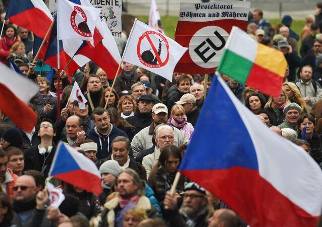 Demonstracja antyimigracyjna w Czechach