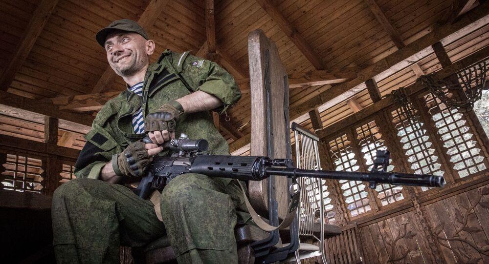 Powstańcy pod miejscowością Marjinka w obwodzie donieckim