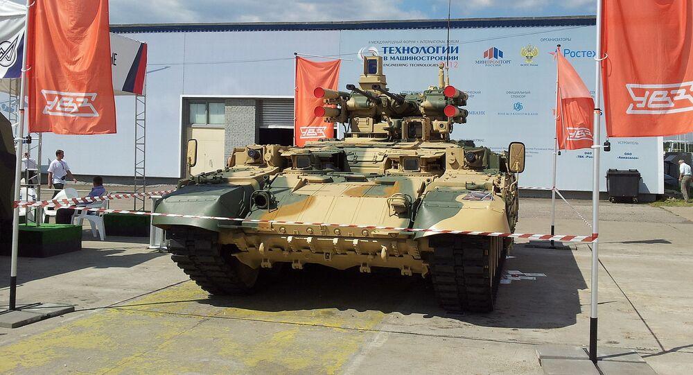 """Obiekt 199 """"Ramka"""" na bazie czołgu T-90 na wystawie """"Technologii w budowie maszyn"""""""