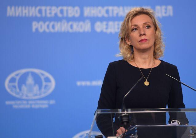 Rzeczniczka MSZ Rosji Maria Zacharowa na briefingu w Moskwie