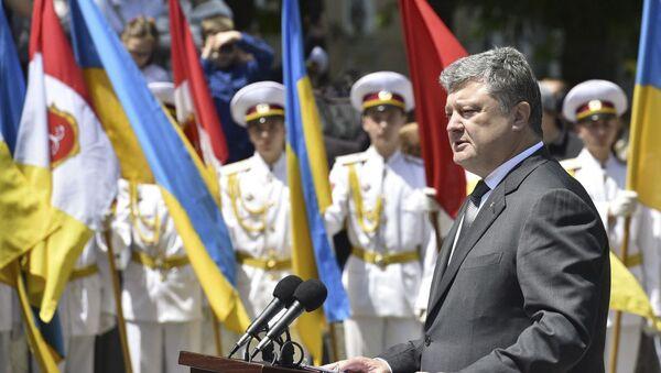 Prezydent Ukrainy Petro Poroszenko podczas ceremonii otwarcia Parku Stambulskiego w Odessie - Sputnik Polska