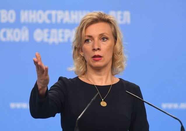 Oficjalny rzecznik MSZ Rosji Maria Zacharowa w czasie briefingu w Moskwie