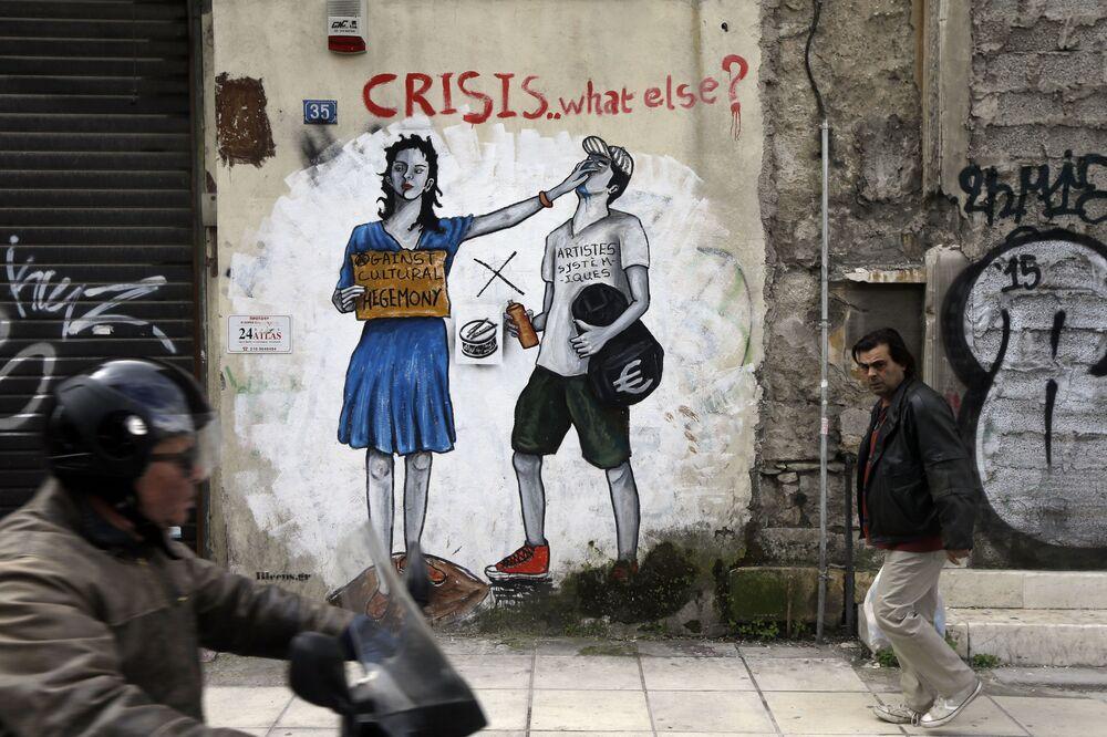 Polityczne graffiti na ulicach Aten