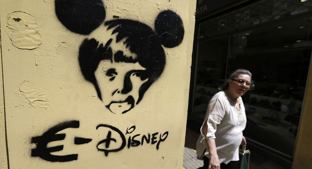 Graffiti przedstawiające kanclera Niemiec Angelę Merkel w Atenach