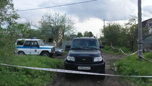 Radiowóz obok domu w miejscowości Riedkino w obwodzie twerskim - Sputnik Polska