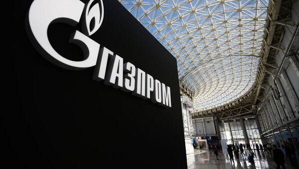 Stanowisko z logo spółki Gazprom na międzynarodowym forum inwestycyjnym Soczi 2016 - Sputnik Polska