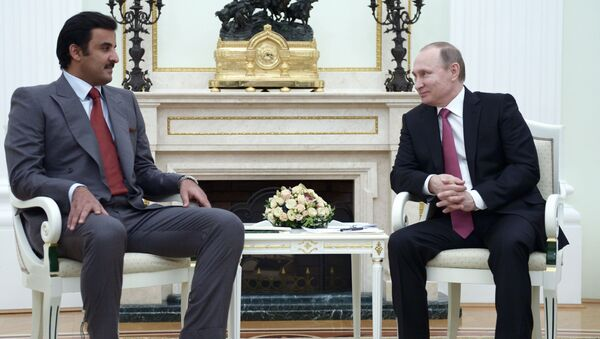 Emir Kataru Tamim bin Hamad Al Thanim i prezydent Rosji Władimir Putin na spotkaniu w Kremlu - Sputnik Polska