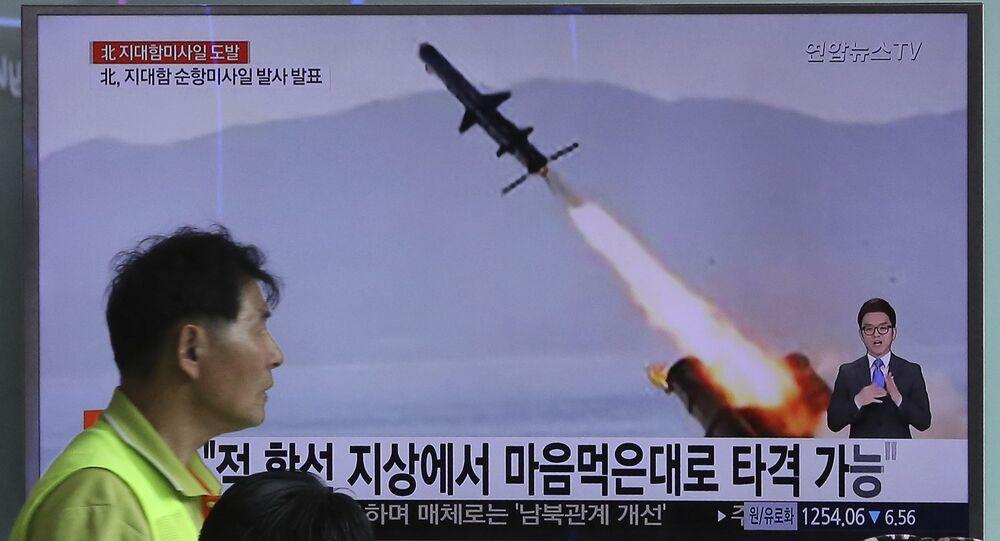 Kadry próby rakietowej w KRLD prezentowane w wiadomościach w Seulu