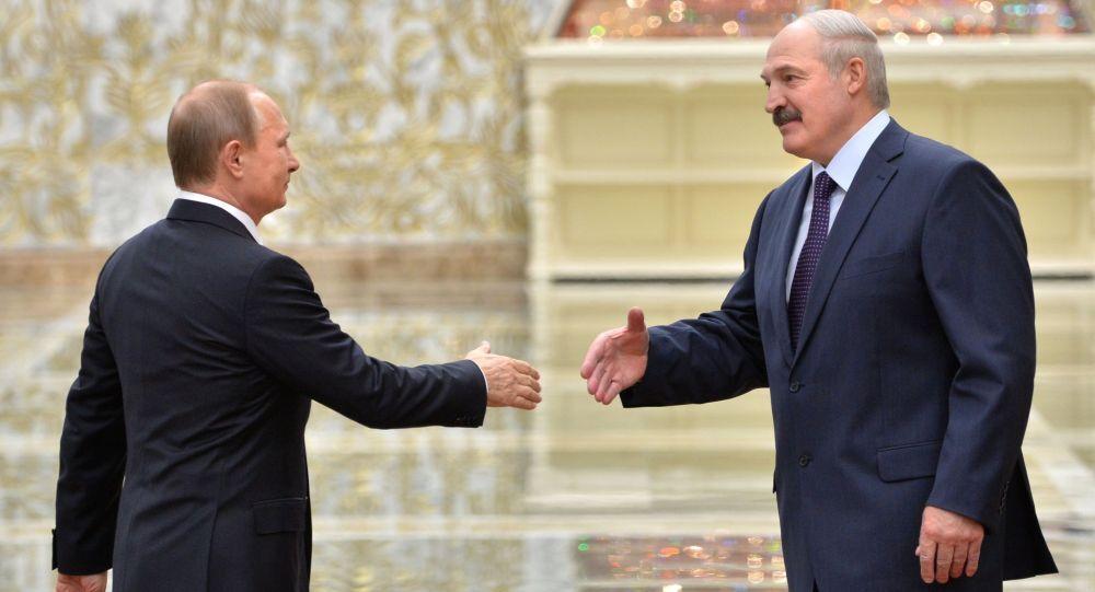 Prezydent Rosji Władimir Putin i prezydent Białorusi Alaksandr Łukaszenka w Mińsku