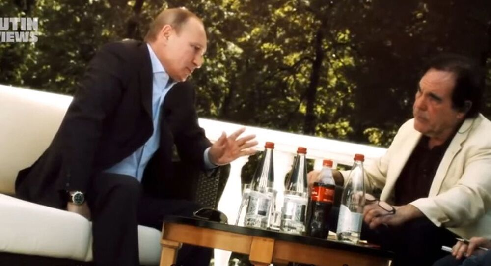 Kadr z dokumentu Olivera Stone'a Wywiad z Putinem