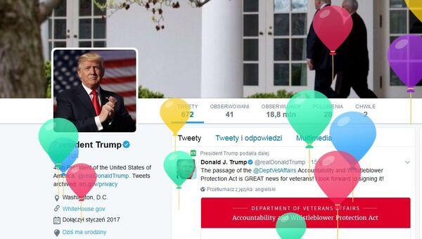 Zwolenników Donalda Trumpa witano kolorowymi balonikami, lecącymi w górę, z okazji urodzin Prezydenta USA - Sputnik Polska