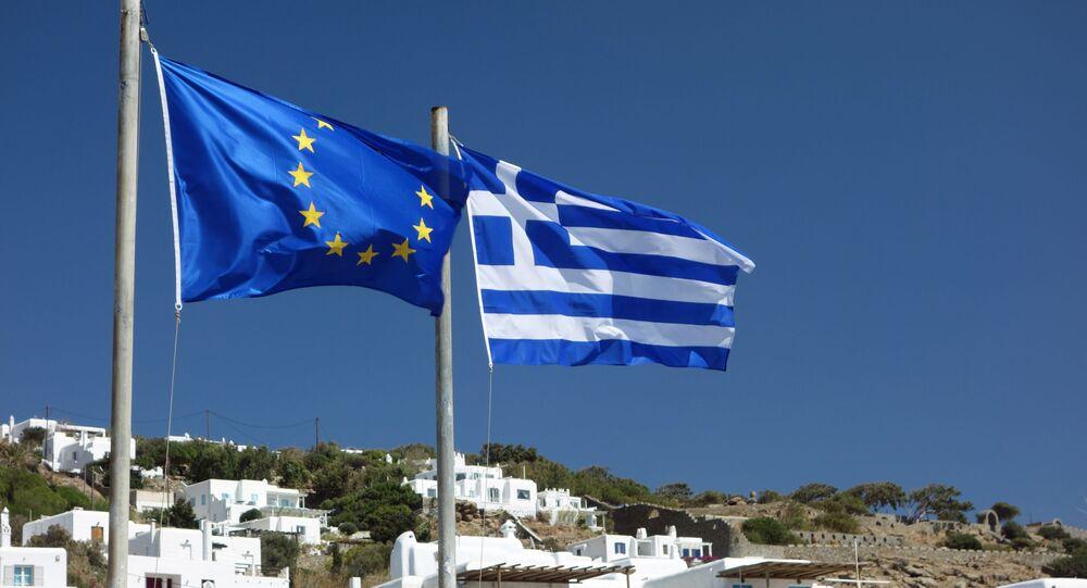 Flagi UE i Grecji