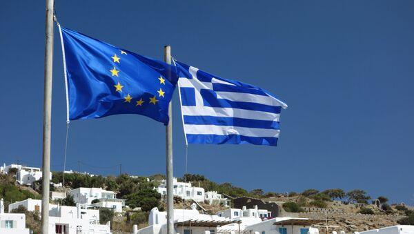 Flagi UE i Grecji - Sputnik Polska