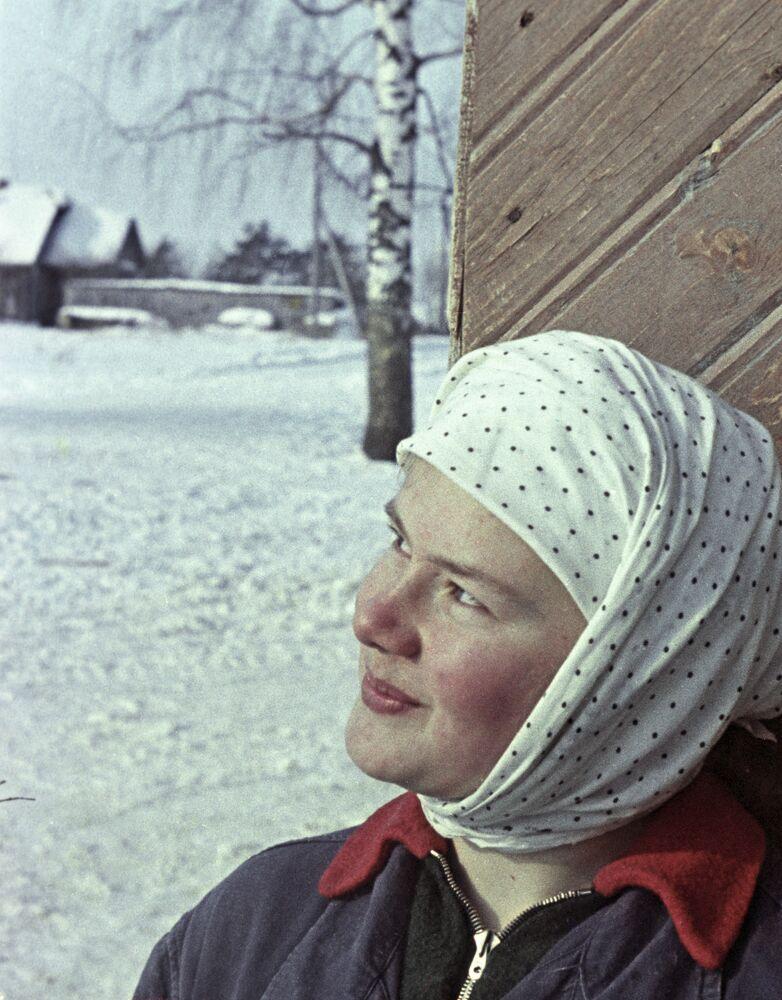 Młoda dojarka w kołchozie w okolicy Kostromy