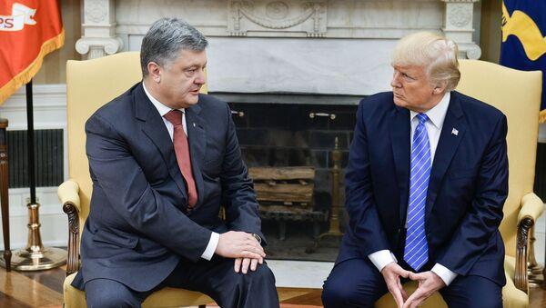 Prezydent Ukrainy Petro Poroszenko i prezydent USA Donald Trump podczas spotkania w Waszyngtonie - Sputnik Polska